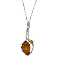 Goldmajor Sterling Silver Two Tone Amber Pendant Necklace Amber
