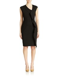 Anne Klein Cap Sleeve Cascade Ruffle Sheath Dress Black