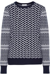 Equipment Shane Houndstooth Cotton And Cashmere Blend Sweater Blue