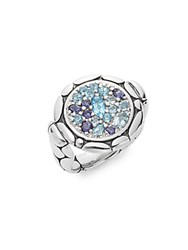 John Hardy Kali Topaz Iolite Aquamarine And Sterling Silver Small Round Lava Ring Silver Multi