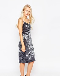 Love Grey Velvet Strap Dress