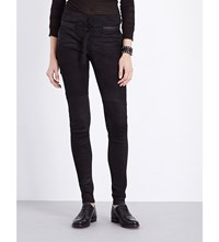 Isabel Benenato Skinny High Rise Leather Biker Trousers Black
