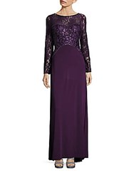 Sue Wong Embellished Lace Gown Purple