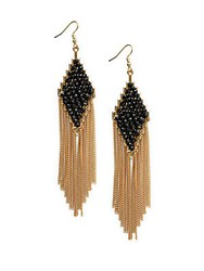 Natasha Faceted Stone And Chain Link Fringe Earrings Black Gold