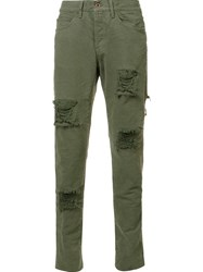 Off White Distressed Skinny Trousers Green