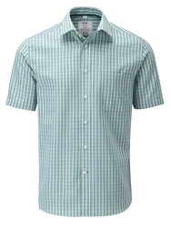 Skopes Check Classic Fit Short Sleeve Classic Collar Shi Green