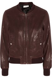 Etoile Isabel Marant Brantley Leather Bomber Jacket Burgundy