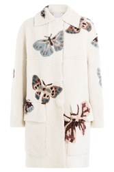 Valentino Printed Sheepskin Coat White
