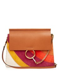 Chloe Faye Suede And Leather Shoulder Bag Tan Multi