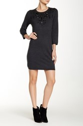 Magaschoni Crew Neck 3 4 Length Sleeve Silk Blend Sweater Dress Black