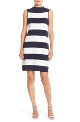Women's Eliza J Stripe Shift Sweater Dress Navy Ivory