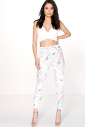 Boohoo Pastel Floral Turn Up Skinny Trousers Multi