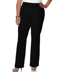 Jm Collection Plus Size Twill Straight Leg Trousers