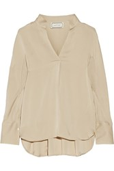 By Malene Birger Patti Draped Crepe De Chine Blouse Nude