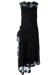 Simone Rocha Semi Sheer Overlay Asymmetric Dress Black
