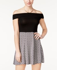 Hurley Juniors' Lolita Off The Shoulder Fit And Flare Dress Black White