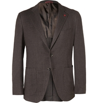 Isaia Slim Fit Wool Silk And Linen Blend Jacket Brown