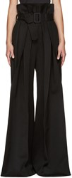 Yang Li Black Wide Leg Torn Trousers