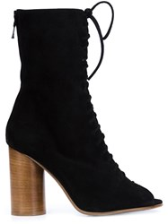 Valas Peep Toe Lace Up Boots Black