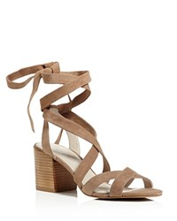Kenneth Cole Victoria Strappy Lace Up Mid Heel Sandals Cafe