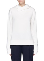 Vince Cashmere Wool Hooded Sweater White