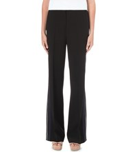 Victoria Beckham Stripe Detail Wide Mid Rise Crepe Trousers Black