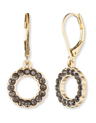 Lonna And Lilly Goldtone And Black Glitz Hoop Drop Earrings Black Diamond Gold