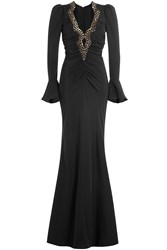 Roberto Cavalli Silk Evening Gown With Patterned Sequin Embellishment Black