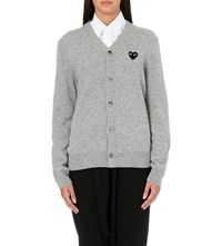 Play Embroidered Heart Wool Cardigan Light Grey