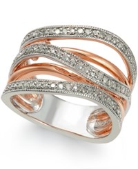 Macy's Diamond Multi Row Ring 1 4 Ct. T.W. In 14K Rose Gold Vermeil And Sterling Silver White