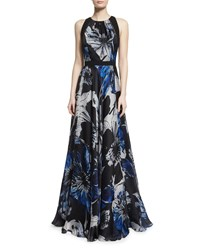 Carmen Marc Valvo Sleeveless Jewel Neck Floral Ball Gown Size 14 Black Midnight