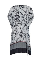 French Connection Imperial Print And Colour Block Tunic Blue