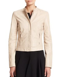 Armani Collezioni Croc Embossed Leather Jacket Beige