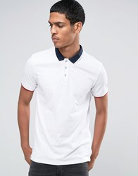 Celio Slim Fit Polo With Contrast Collar Optic White