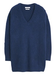 Mango V Neck Textured Sweater Navy