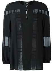 Class Roberto Cavalli Sheer Panel Blouse Black