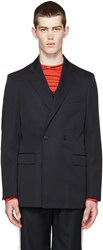 Raf Simons Navy Wool Double Breasted Blazer
