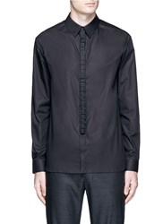 Wan Hung Woven Cube Placket Cotton Shirt Black