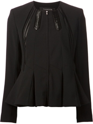 Thakoon Addition Collarless Pleated Jacket Black