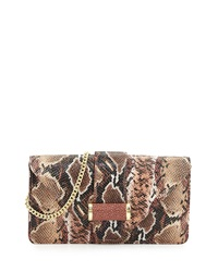 Ivanka Trump Snake Print Leather Clutch Bag Rose Quartz