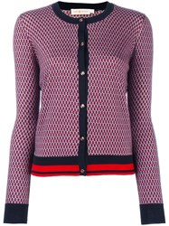 Tory Burch Patterned Round Neck Cardigan Blue