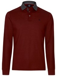 Hackett London Marl Tip Long Sleeve Polo Wine