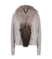 Max And Moi Lou Fur Trimmed Cardigan Female Light Grey