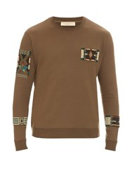 Valentino Embellished Crew Neck Cotton Blend Sweater Khaki