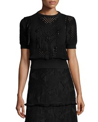 Elie Tahari Lena Crochet Blouse Sweater Black