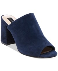 Steve Madden Steven By Women's Fume Peep Toe Mules Women's Shoes Navy Suede