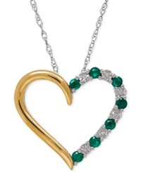 Macy's Emerald 1 4 Ct. T.W. And Diamond Accent Heart Pendant Necklace In 14K Gold And Sterling Silver
