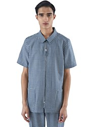 E.Tautz Gingham Zipped Safari Shirt Navy