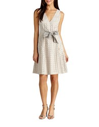 Donna Morgan Bow Front Perforated Dress Light Grey