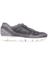 Santoni Perforated Lace Up Sneakers Blue